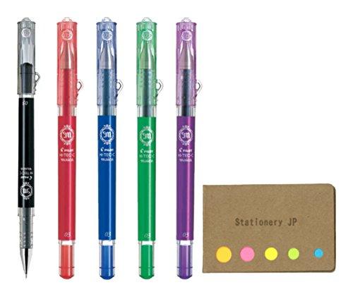 (Pilot Hi-Tec-C Maica Gel Ink Pen, Extra Fine Point 0.3mm, 5 Color Ink, Sticky Notes Value Set)