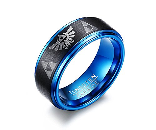 Tungsten Carbide Two-tone Blue Black Step Edge Legend of Zelda Triforce Ring Bands for Men Boy,size 11 ()