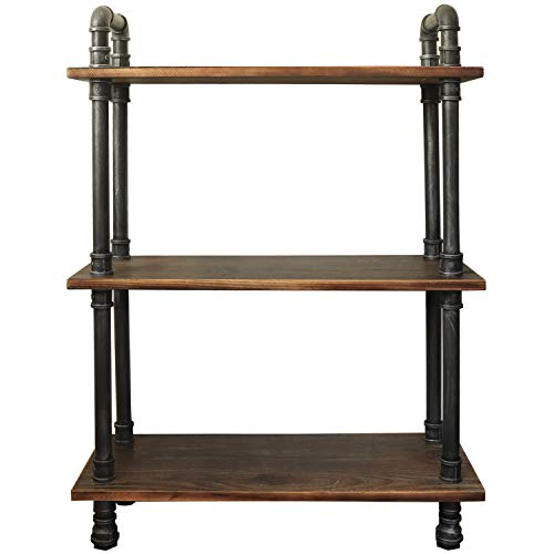 Barnyard Designs Furniture 3-Tier Bookcase, Solid Pine Open Wood Shelves, Rustic Modern Industrial Metal and Wood Style Bookshelf, 38.5 x 29.5 x 11.75