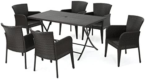 Killion Outdoor 7 Piece Multi-Brown Wicker Dining Set
