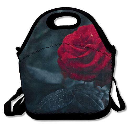 568 Rose - Lunch Bag Tote Bag Art Rose Flower Floral Dark GreenTravel Picnic Organizer Lunch Holder Handbags Lunch Bag Box for Work School