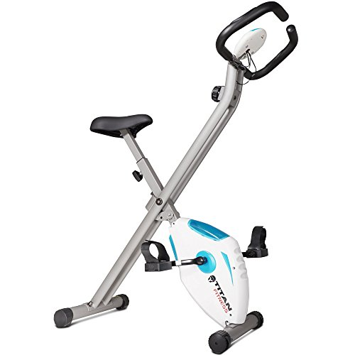 Titan Fitness Folding Exercise Bike w/ Pulse Cardio Cycling Magnetic Resistance Titan Fitness