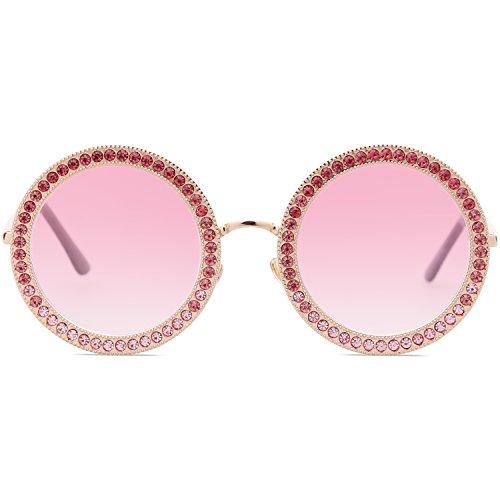 SojoS De Marco SJ1095 Sol Dorado Para Diamante Lente Marco Mujer Cristal C3 Gradiente Gafas Redondo Rosado rRwqx5r