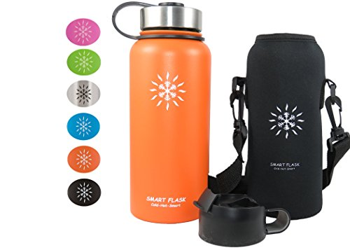 Smart Flask Stainless Steel Water Bottle, 32 Oz., Wide Mouth, Vacuum Insulated, Includes Carrying Pouch with Clip and Shoulder Strap, Leakproof Metal Lid, and Flip Top Lid (Orlando Orange)
