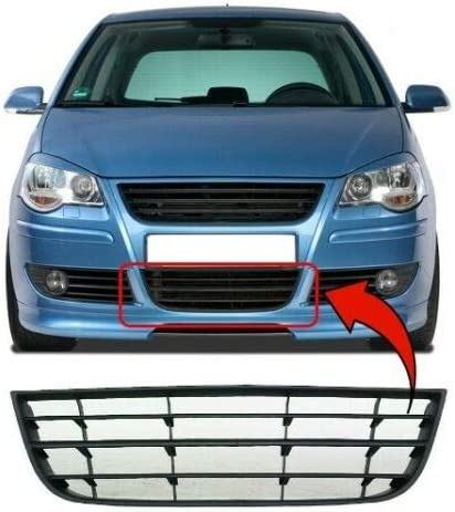Trade Vehicle Parts VK1408 Front Centre Lower Bumper Grille Compatible With Polo 9N 2005-2009