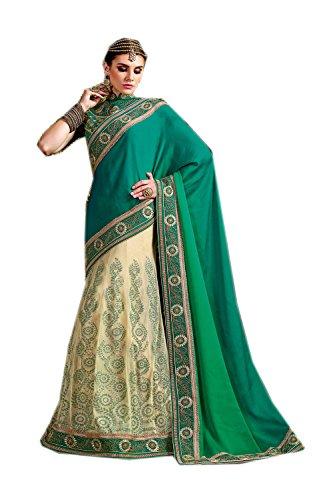 Da Facioun Saris Indiens Pour Les Femmes Portent Partie Concepteur De Mariage Bleu Turquoise Traditionnel, Sari Pista
