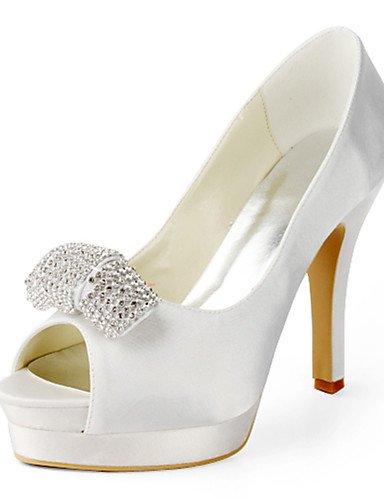 Textiles / Home ZQ de las mujeres zapatos de tac¨®n de aguja tal¨®n zapatos de seda/zapatos de tac¨®n peep toe de la boda/fiesta&?noche blanco/vestido, 4in-4 3/4in-white 4in-4 3/4in-white