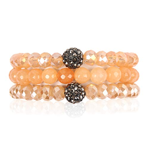 (RIAH FASHION Bead Multi Layer Versatile Statement Bracelets - Stackable Beaded Strand Stretch Bangles Sparkly Crystal, Faux Druzy, Pave Fireball (Pave Ball & Natural Stone Mix - Natural))