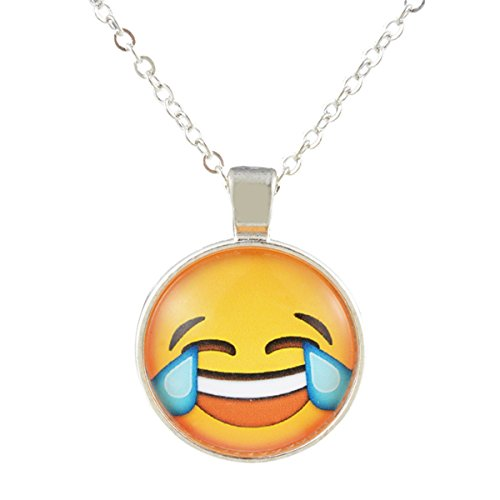 KY Tears of Joy Funny Emoji Glass Cabochon Pendant Necklace Silver Sweater Chain ()