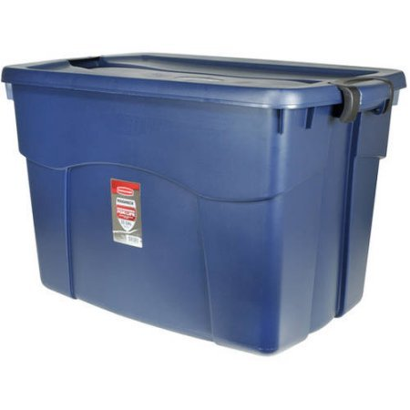 Rubbermaid 35-Gallon (140-Quart) Roughneck Latching Tote, Blue, Set of 6 (Roughneck Tote Storage)