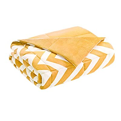 Intelligent Design  Chevron Luxury Down Alternative Throw Yellow 60x70   Chevron Premium Soft Cozy Microfiber For Bed, Couch or Sofa - Set includes: 1 throw Materials: 100percent polyester filling: 100percent fiber Measurements: 60-by-70-inch blanket - blankets-throws, bedroom-sheets-comforters, bedroom - 41s9Tldw%2B0L. SS400  -