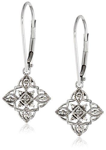 Diamond Accent Dangle Earrings - 10K White Gold Diamond Accent Vintage Dangle Earrings