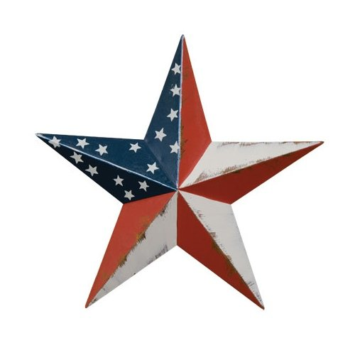 CWI Gifts 6-Piece Americana Barn Star Wall Décor Set, (Primitive Star Ornaments)