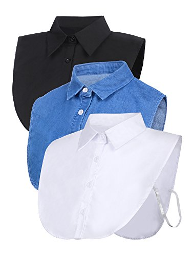 Satinior 3 Pieces Fake Collar Detachable Dickey Collar Blouse Half Shirts Collar (White/Black/Blue) (M Size, -