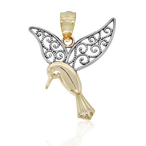 Gold Hummingbird Charm, 14k Solid Gold