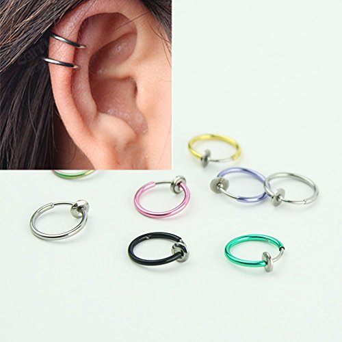 Price comparison product image 8PCS & 4 Pairs Set Punk Fashion Stainless Steel Spring Action Titanium IP Fake Septum Endless Hoop Earrings for Cartilage Nose Ears Lip Belly Body Piercing Rings