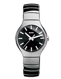 Rado True Black Dial Platinum-tone Ceramic Unisex Watch R27656162 by Rado