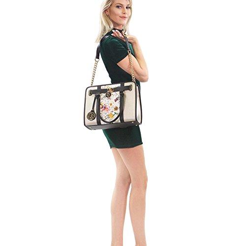 purple Toned Padlock Matching Purse Crosshatch Dasein Handle 2 Wallet Texture Chain w Top Handbag Black Shoulder Strap Bag Satchel Designer Two Women's WU0YYXRqa