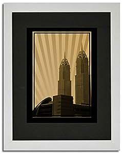 Al Kazim Towers Metro - Sepia No Text F02-m (a3) - Framed