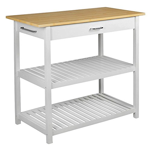 - Topeakmart Kitchen Island Utility Trolley Cart with Hardwood Top, 2 Shelves,White Finish-Includes Storage Drawer