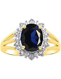 Diamond & Sapphire Ring Set In Yellow Gold Plated Silver .925 Halo Princess Diana Inspired Designer Stylish