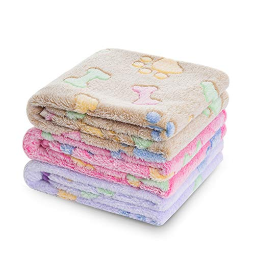 luciphia 1 Pack 3 Blankets Super Soft Fluffy Premium Fleece Pet Blanket Flannel Throw for Dog Puppy Cat Bone Large from luciphia