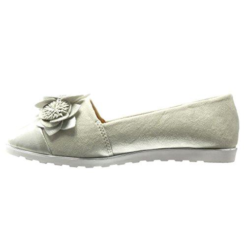 5 Sneaker Fantasy Wedge cm on Women's Shoes Silver 1 Platform Slip Fashion Flowers Sole Mocassins Angkorly qwOAfYz