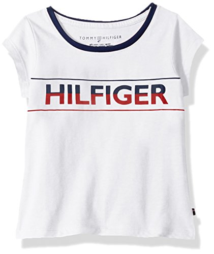 Tommy Hilfiger Girls' Little TH Icon Tee, White, 5