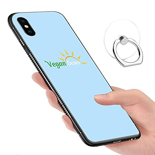 (iPhone X Case,iPhone Xs Cases Tempered Glass Pattern Painted Vegan Dawn Logo Tee Bumper Cover for iPhone X/XS)