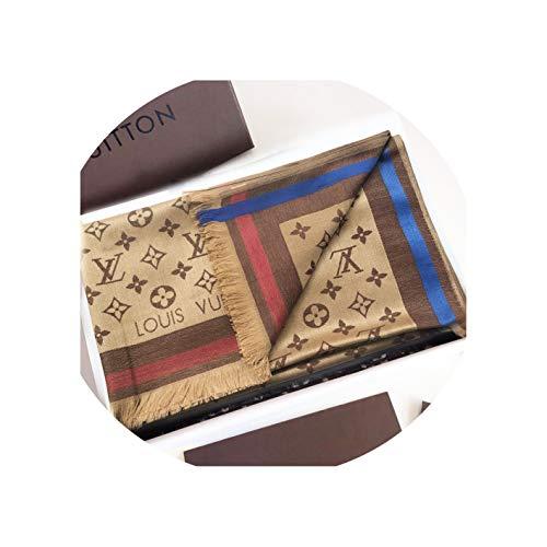 SCOOBEE Fashion Luxury Monogram Brown Khaki Silk/Wool Shine Scarf/Shawl Warm Large Scarves for Women Men(70.9