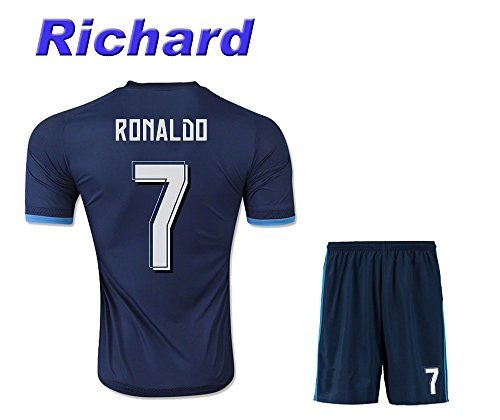 Real Madrid 3rd Blue Ronaldo #7 Adult Soccer Jersey 20152016 with Free Short a Set (Large)