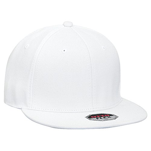 OTTO Flex Wool Blend Square Flat Visor 6 Panel Pro Style Baseball Cap - White