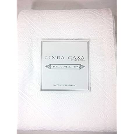 Linea Casa By Sferra Vintage Collection Diamond Scroll Tile 3 Piece Queen Bedspread White
