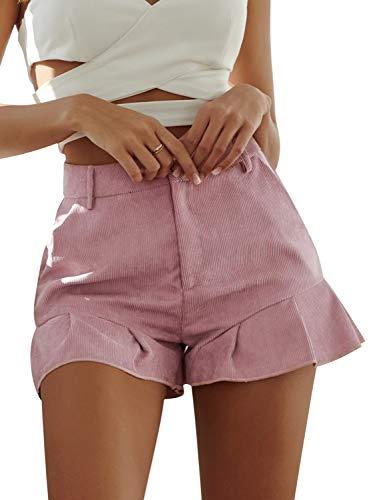 BerryGo Women's Casual High Waist Ruffle Shorts with Pockets Pink