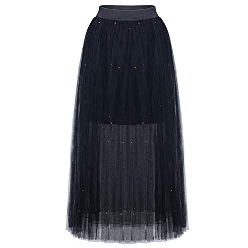 Runyue Femmes Tulle Maille Plisse lastique Taille Midi Jupes Mignon Flare Jupe Noir