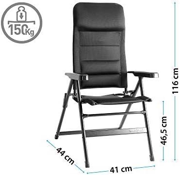 Camping Brunner ALU Chaise Pliante Chaise de camping aravel 3d Large Black capitonné Max 150