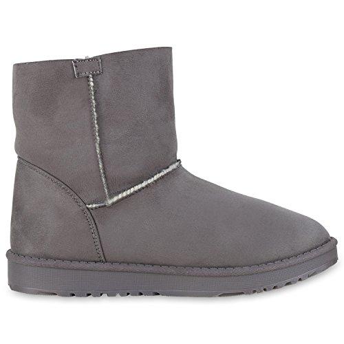 napoli-fashion Bequeme Warm Gefütterte Damen Schuhe Stiefel Schlupfstiefel Jennika Grau Bommel