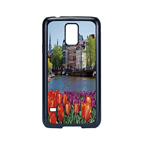 Cell Phone Case Compatible Samsung Galaxy S5,Landscape - Hard Plastic Phone Case/Black - European City Holland Amsterdam Scenery of Old Victorian Era Houses Art Print