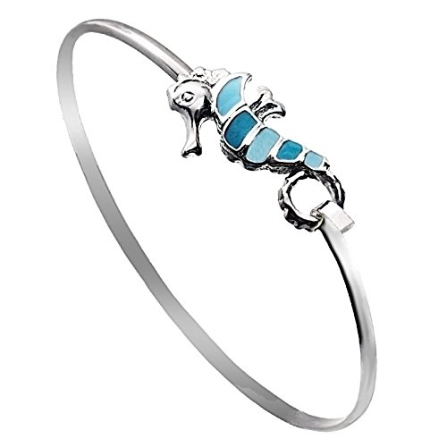 Seahorse Sea Life Latch Cuff Bracelet by Cape Cod Jewelry-CCJ