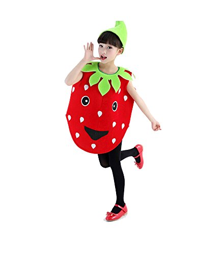 [Fairyye Fruits and Veggies Collection Strawberry Costume for Kids fit for 110-140cm (strawberry)] (Fruit Costumes For Kids)