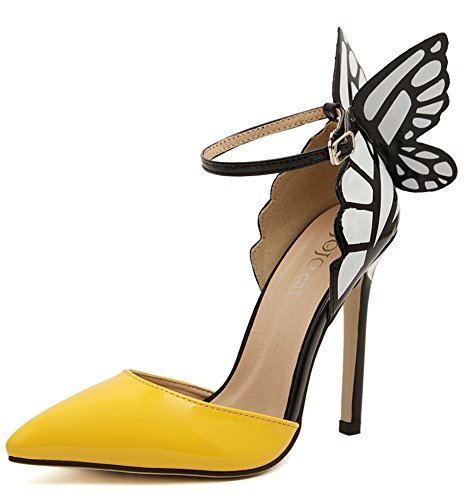 DiJiGilrs 2016 American Women Colorful Butterfly Pointed Wedding High Heeled Shoes Woman Bow Party Bridal PumpsA8-9 (US 11, Yellow)