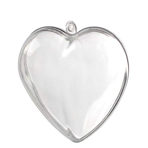 12 Clear Plastic Acrylic Fillable Heart Ornaments, 80mm