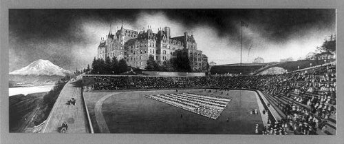 Photo: High school,stadium,American Flag,mountains,people,Tacoma,Washington,WA,c1910