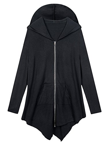 AMZ PLUS Women Plus Size Lightweight Full Zip Up Hooded Sweatshirt Hoodie Jacket Black L by AMZ PLUS