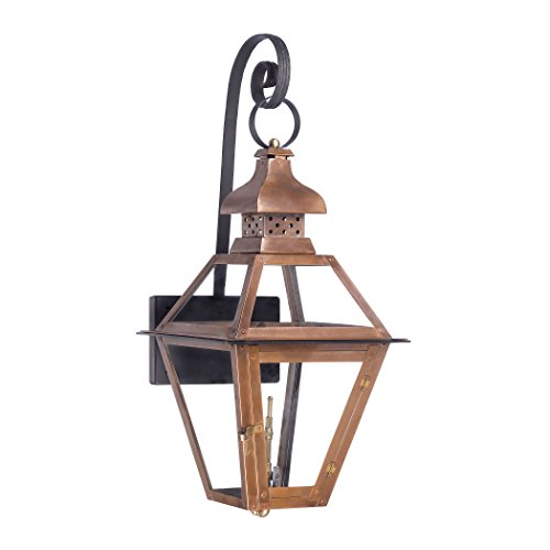 Outdoor Gas Shepherd'S Scroll Wall Lantern Bayou Collection In Solid Brass In an Aged Copper finish. (Bayou Gas Lantern)
