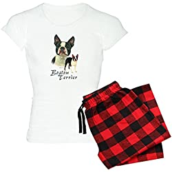 CafePress - Boston Terrier-2 Women's Light Pajamas - Womens Novelty Cotton Pajama Set, Comfortable PJ Sleepwear