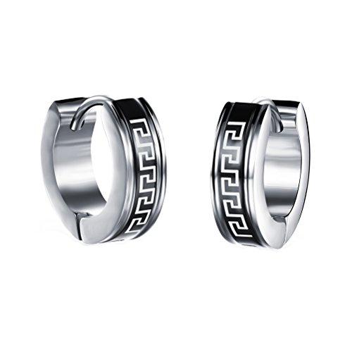 Greek Key Huggie Earrings (HIJONES Unisex's Stainless Steel Vintage Greek Key Hoop Huggie Earrings Stud for Women and Men)