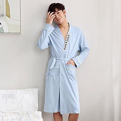 Mangeoo Pijamas De Los Hombres, Algodón Puro, Primavera Y Otoño, Versión Coreana,