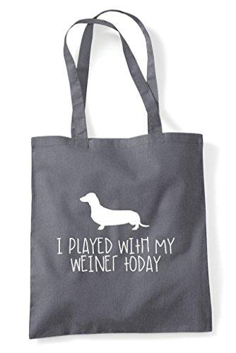 Weiner Sausage Today Dog My Parody Funny Grey Bag I Tote Dark With Played Shopper BqxwtIWXF