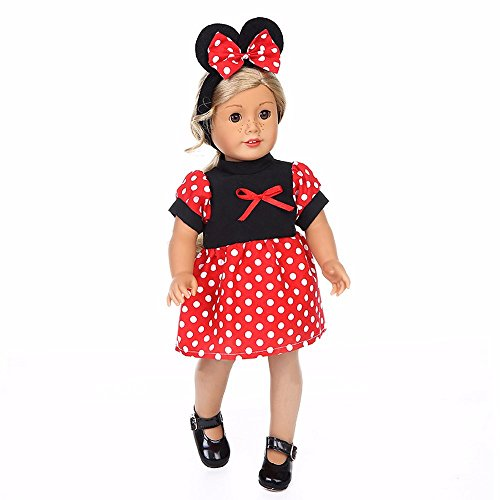 Doll Skirt Set - American girl doll clothes 18 inch and accessories pajamas Red Dot Mickey Costume Doll Dress,matching girl clothes clothing set Doll skirt Closet,our generation doll clothes patterns storage (red)